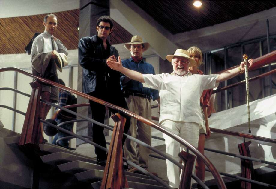 From left, actors Martin Ferrero as Gennaro, Jeff Goldblum as Dr. Ian Malcolm, Sam Neill as Dr. Alan Grant, Richard Attenborough as John Hammond and Laura Dern as Dr. Ellie Sattler in a scene from the film 'Jurassic Park.' Photo: Murray Close, Getty Images / 2011 Murray Close