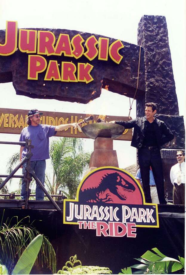 Steven Spielberg and Jeff Goldblum open the Jurassic Park Ride at Universal Studios at Universal Studios in Hollywood in 1996. Photo: Jeff Kravitz, FilmMagic, Inc / FilmMagic, Inc