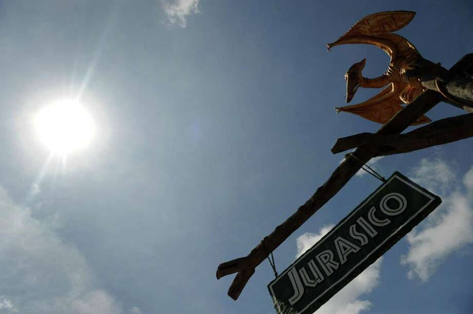 View of a sign indicating the Jurassic Park at the Napoles ranch theme park in Puerto Triunfo, Colombia on June 21, 2009. Photo: AFP/Getty Images