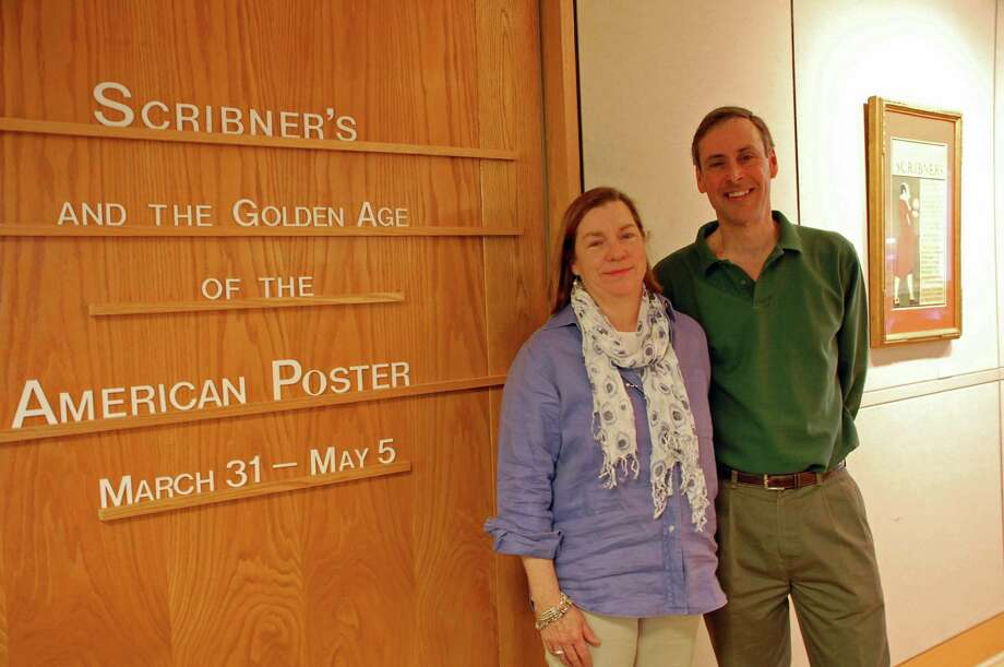 Anda and John Hutchins of New Canaan have collected more than 40 vintage posters from the Charles Scribner Sons publishing house that are the focus of a new exhibition at the New Canaan Library. Anda Hutchins' ancestors ran the publishing giant. Photo: Contributed