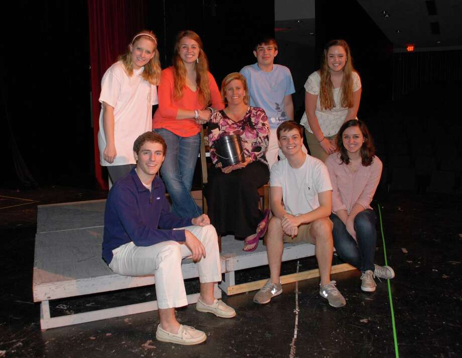 Graham Baker,bottom left, starred in Crazy for You, Leigh Lloveras, standing left,Kaela Beasley, teacher CeCe Prudhomme, Hayden Mc Mordie, Audrey Daniel, Hayden Parsley,bottom center, and Anila Ademi, all seniors  which Stratford's entry in the Tommy Tune Awards. / Freelance