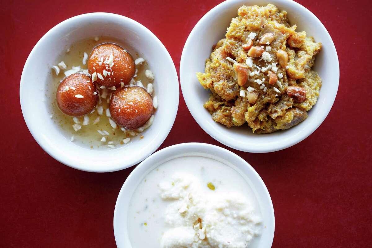 Gulab Jamun, left clockwise, Double Ka Meeta and Rasmalai Desserts at Biryani Pot, Tuesday, March 26, 2013, in Houston. ( Michael Paulsen / Houston Chronicle )