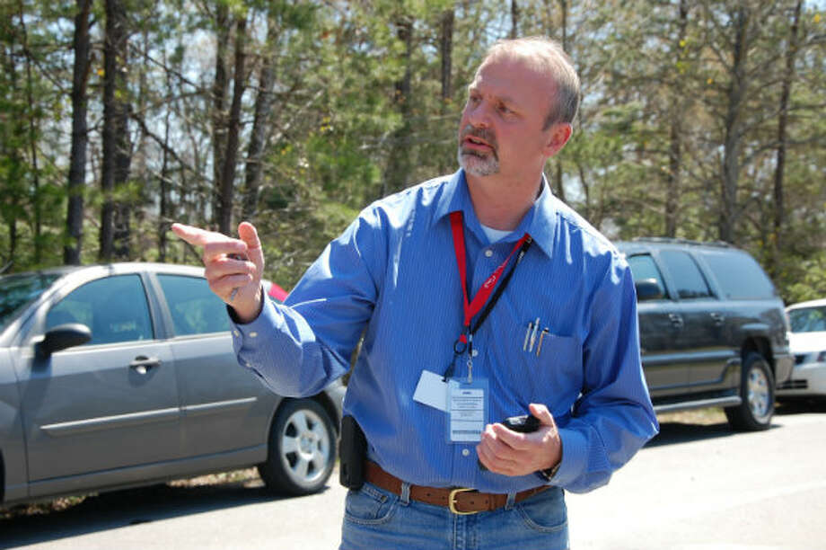 Faulkner County Judge Allen Dodson talks to reporters in Mayflower, Ark., on Monday, April 1, 2013, days after a crude oil pipeline ruptured and spewed oil over lawns and roadways.