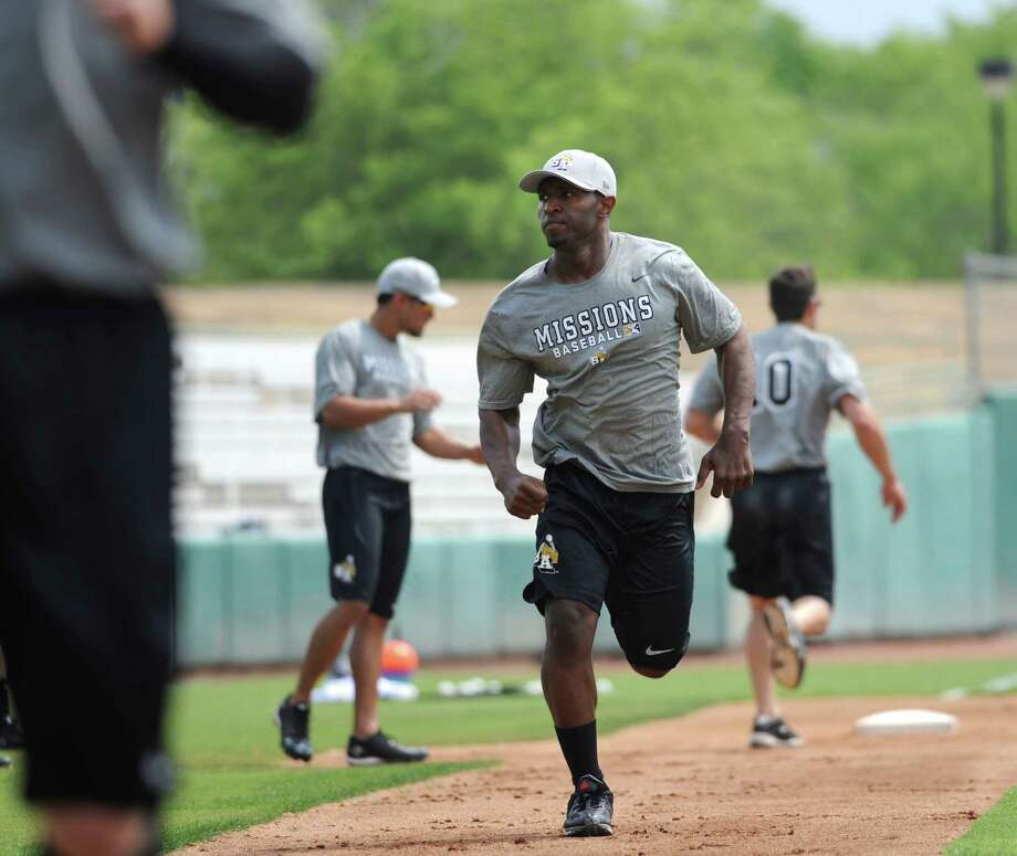 San Antonio Missions players run the bases during a team workout at Nelson Wolff Stadium on Tuesday, April 2, 2013. The Missions open their Texas League schedule at home against Tulsa at 7:05 p.m. on April 4. Photo: Billy Calzada, San Antonio Express-News / San Antonio Express-News