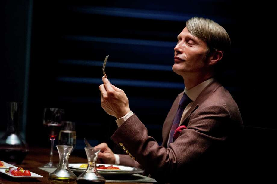 "This publicity image released by NBC shows Danish actor Mads Mikkelson as Dr. Hannial Lecter in a scene from the upcoming TV series, ""Hannibal.""  The series, based on the Thomas Harris novels and starring Mikkelson, Hugh Dancy, and Laurence Fishburne, will premiere on April 4, 2013 on NBC.  (AP Photo/NBC, Brooke Palmer) Photo: Brooke Palmer, HOEP / NBC"