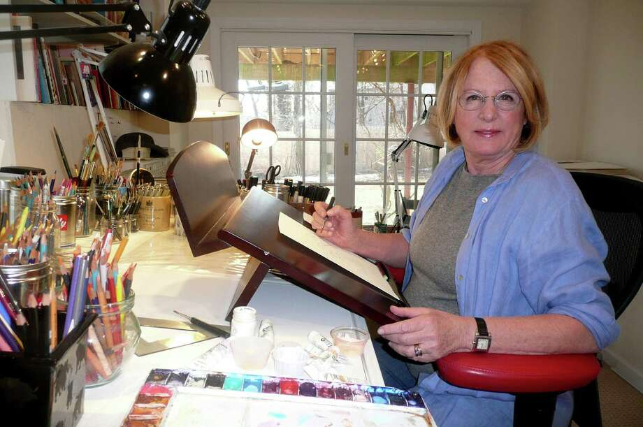 "Author/illustrator Rosemary Wells works away in her Greenwich studio, where she has written many memorable children's books, including the popular Max & Ruby"" series. Photo: Anne W. Semmes"