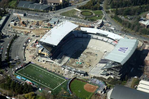 Husky Stadium is seen from the air in this March 30, 2013, photo by a seattlepi.com reader. The stadium is scheduled to be open for UW's home football opener Aug. 31 against Boise State.