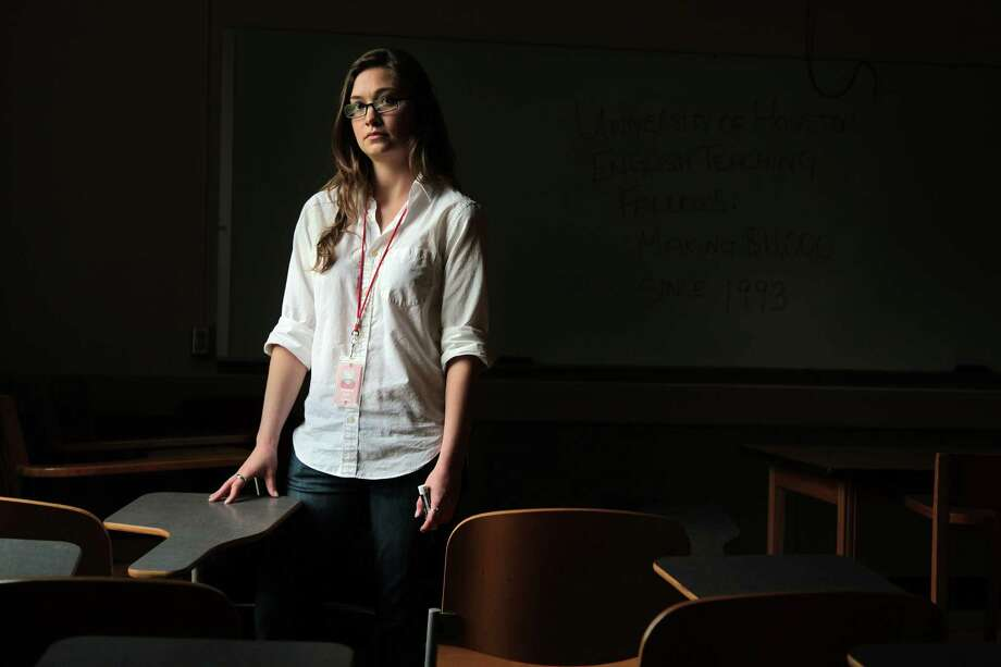 Rhianna Brandt, a teaching fellows at University of Houston, is speaking out about not earning a living wage. Photo: Mayra Beltran, Staff / © 2013 Houston Chronicle