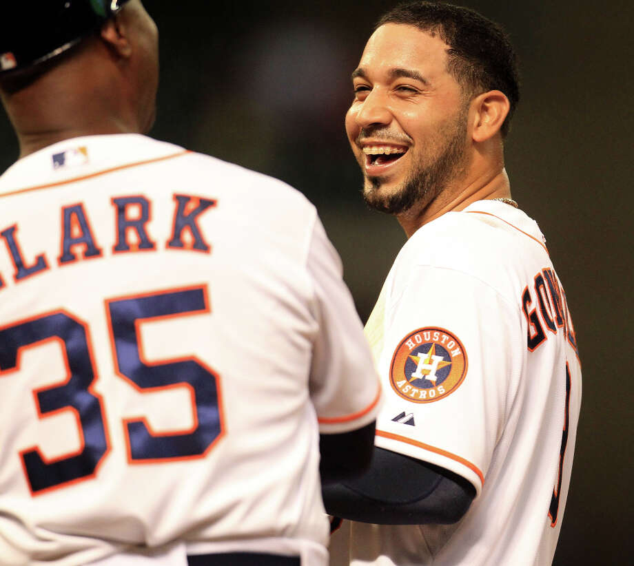 Astros shortstop Marwin Gonzalez reacts on first base after breaking up a perfect game. Photo: Karen Warren / © 2013 Houston Chronicle