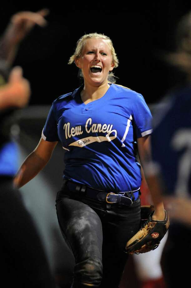 New caney senior first baseman Kindell Gainer celebrates her putout of Crosby Jamie Hofmann for the final out of their District 19-4A matchup at Crosby High School on Tuesday. Photo: Jerry Baker, For The Chronicle