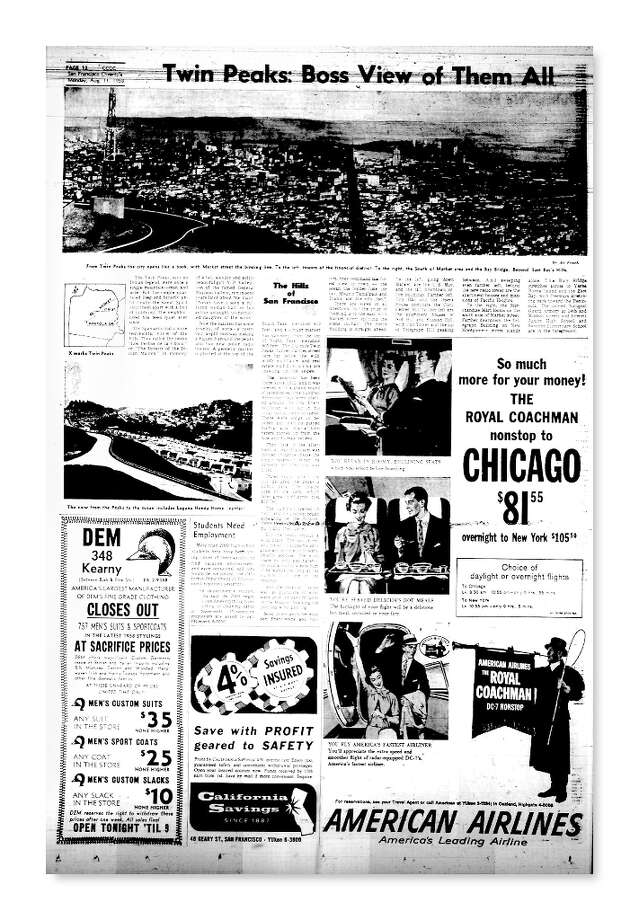 Chronicle story Hills of San Francisco about Twin Peaks from Aug. 11, 1958. Photo: Chronicle File