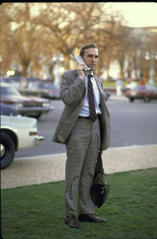 An original yuppie on a mobile phone in 1980s. Photo: Terry Ashe, File / Terry Ashe