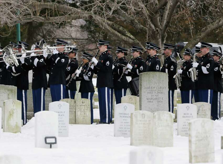 The U.S. Military Academy Band performs during a burial service at the West Point Cemetery on Friday, March 22, 2013, in West Point, N.Y. The service was for Maj. Gen. Robert Strong and wife Virginia Strong. Graves of soldiers from every U.S. war make this small plot of the land the most hallowed ground on the nation's the most venerable military academy. And after 196 years and more than 8,000 souls, it's close to full.