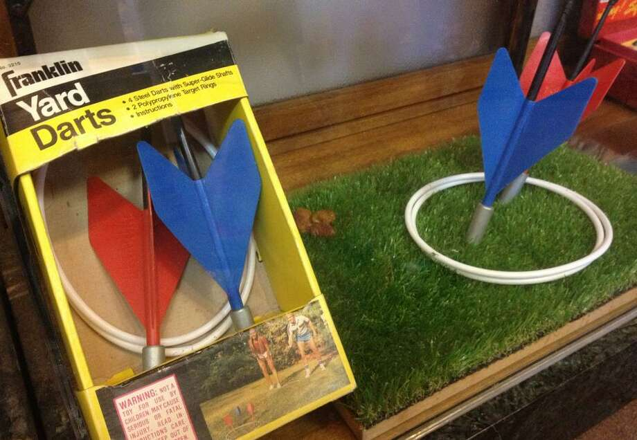 Lawn Darts, another banned toy on display. If You'll shoot your eye out became the warning song for BB guns, surely You'll impale your best friend was the theme of lawn darts.