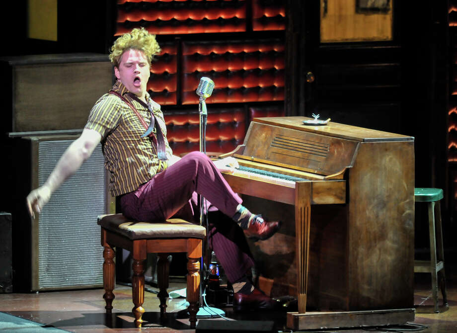 "Ben Goddard as Jerry Lee Lewis during a perfomance of ""Million Dollar Quartet"" at the Majestic Theater. Photo: Robin Jerstad"
