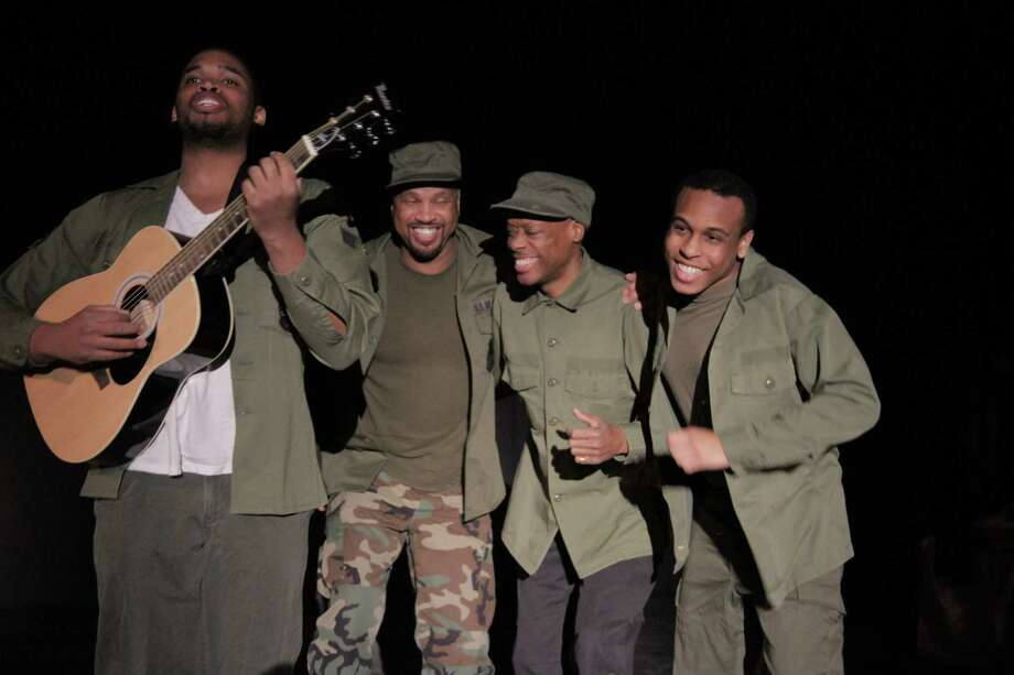 """Jason Tillery, Arthur Henson, Barry Walston and Keyonn Everett in Classic Theater Guild """"A Soldier's Play"""" being performed at Proctors Fenimore Gallery from April 5, 2013, through April 14, 2013. (Julie Casper Roth)"""