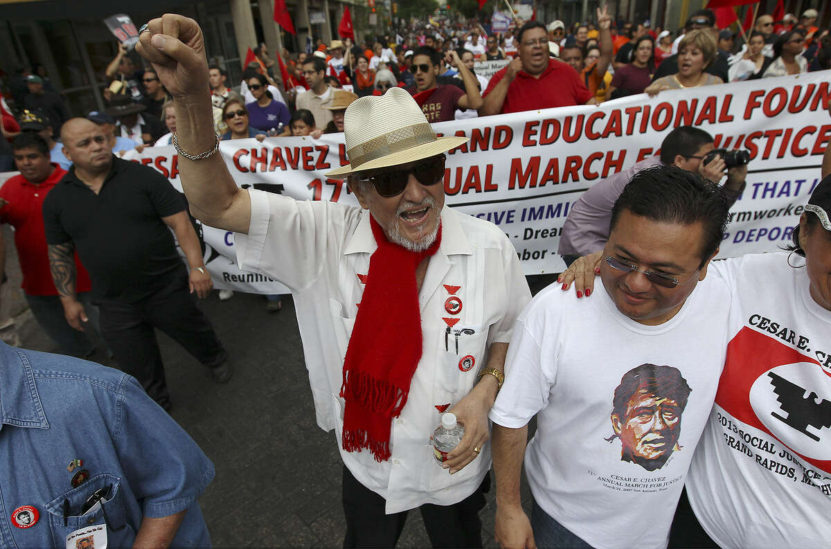 """Jaime Martinez (center) founder of the César E. Chávez Legacy and Educational Foundation leads the 17th annual César E. Chávez March for Justice on March 30. Martinez, who has cancer, says, """"The march will continue long after we're gone."""""""