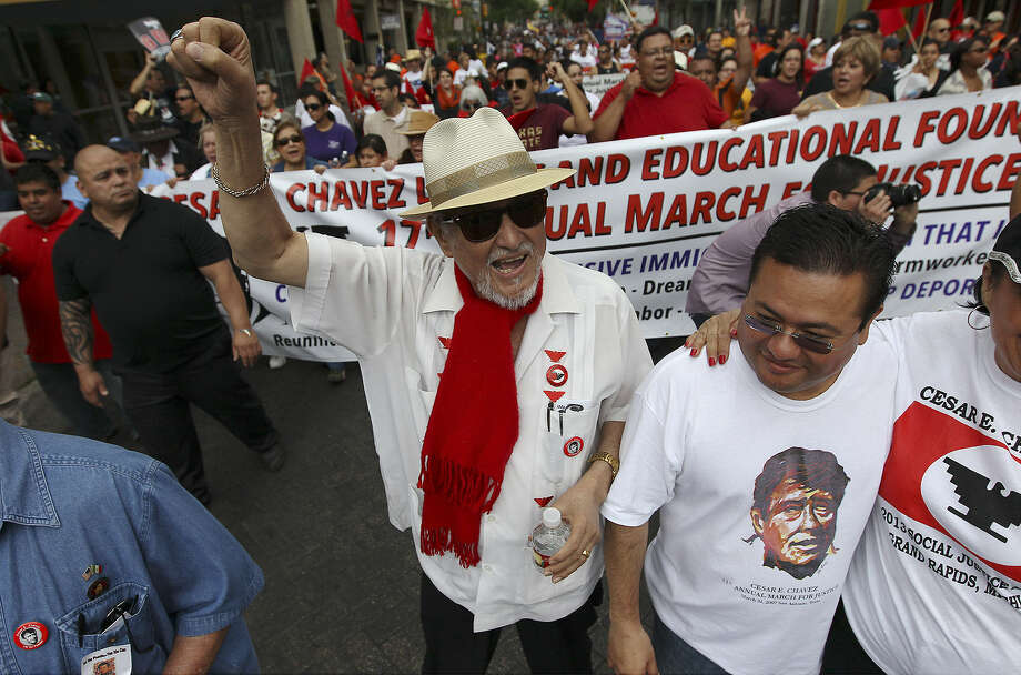 "Jaime Martinez (center) founder of the César E. Chávez Legacy and Educational Foundation leads the 17th annual César E. Chávez March for Justice on March 30. Martinez, who has cancer, says, ""The march will continue long after we're gone."" Photo: Kin Man Hui / Express-News"