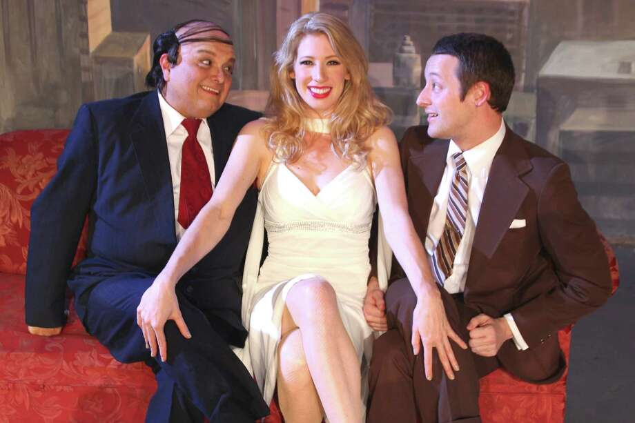 Greg Hinojosa (from left), Paige Blend and Walter Songer play leading roles in the Woodlawn Theatre's staging of 'The Producers.' Photo: Courtesy