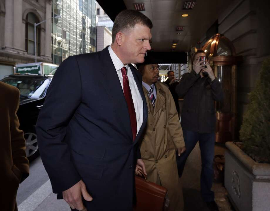 Oklahoma City Thunder owner Clay Bennett, chairman of  the NBA relocation committee, arrives for an NBA owners meetings regarding the the possible relocation of the Sacramento Kings team to Seattle, in New York,  Wednesday, April 3, 2013. Hedge fund manager Chris Hansen and Microsoft Chief Executive Steve Ballmer have agreed to buy a majority stake in the Kings from the Maloof family for $341 million, but the deal needs league approval.