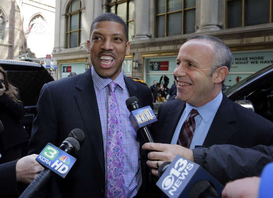 Sacramento Mayor Kevin Johnson, left, and California state Sen. Darrell Steinberg arrive for the NBA owners meeting regarding the the possible relocation of the Sacramento Kings team to Seattle, in New York, Wednesday, April 3, 2013. Hedge fund manager Chris Hansen and Microsoft Chief Executive Steve Ballmer have agreed to buy a majority stake in the Kings from the Maloof family for $341 million, but the deal needs league approval.