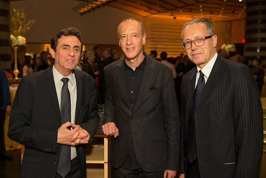 "Neal Benezra, artist Christian Marclay and Rudolf Frieling at SFMOMA's presentation of Marclay's ""The Clock"" on April 2, 2013. Photo: Drew Altizer Photography"