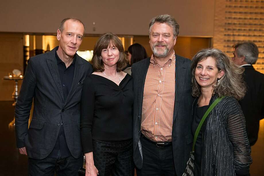 "Christian Marclay, Leslie Berman, Nion McEvoy and Frish Brandt at SFMOMA's presentation of Marclay's ""The Clock"" on April 2, 2013. Photo: Drew Altizer Photography"