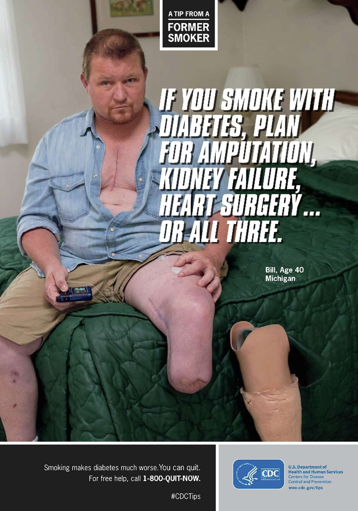 The following images are from the CDC's most recent anti-smoking campaign, Tips From Former Smokers