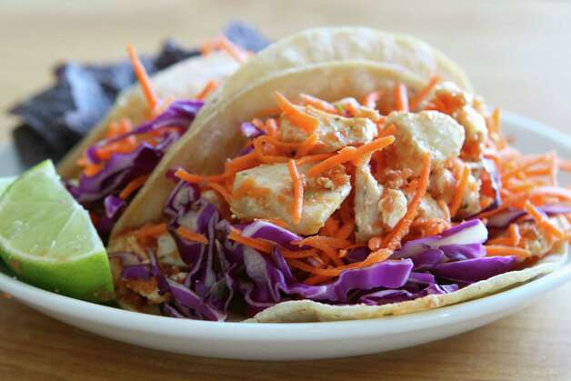 Coleslaw mix gives fish tacos some