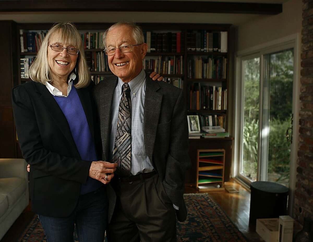 Long time journalism teacher Esther Wojcicki and chairman of Stanford's physics department Stan Wojcicki at home on the Stanford campus in Palo Alto, California, as they talk about their daughters on Tuesday, April 2, 2013.