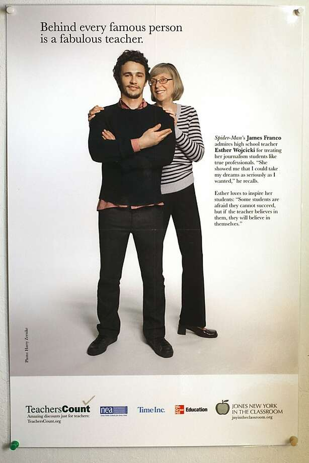 Actor James Franco posing next to his Palo Alto High school journalism teacher Esther Wojcicki in an ad distributed a few years ago. Photo: Courtesy Of Wojcicki Family