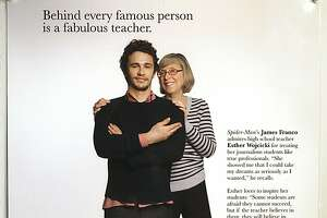 Actor James Franco posing next to his Palo Alto High school journalism teacher Esther Wojcick in an ad distributed about three years ago.