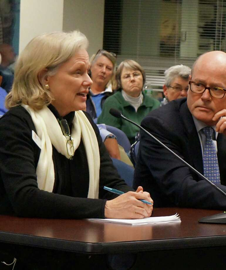 Martha Lord, executive director of the Pequot Library, and library board member Kelsey Biggers, try to convince the Board of Finance to continue the town's $350,000 contribution to the library's budget. Photo: Genevieve Reilly / Fairfield Citizen