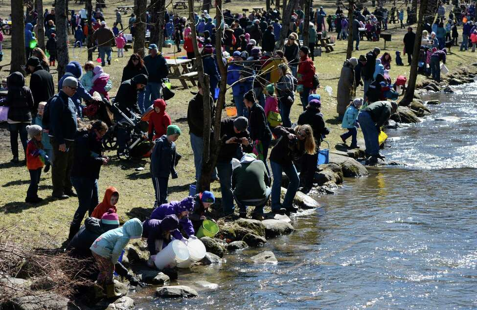Hundreds of youngsters and their parents gather on the shore of Geyser Creek April 3, 2013, in Saratoga Spa State Park for the annual fish stocking event in Saratoga Springs, N.Y. (Skip Dickstein/Times Union)
