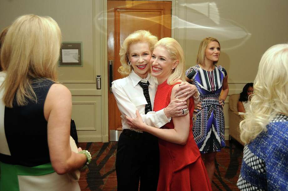 Lynn Wyatt congratulates honoree Isabel David backstage at the annual Houston Chronicle's Best Dressed Luncheon at the Westin Galleria Hotel Tuesday April 3, 2013.(Dave Rossman photo) Photo: Dave Rossman, For The Houston Chronicle / © 2013 Dave Rossman