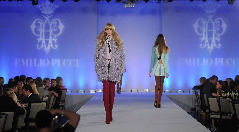 A model walks the runway during the Emilio Pucci fashion show at the Houston Chronicle's Best Dressed Luncheon at the Westin Galleria Hotel Tuesday April 3, 2013.(Dave Rossman photo) Photo: Dave Rossman, For The Houston Chronicle / © 2013 Dave Rossman