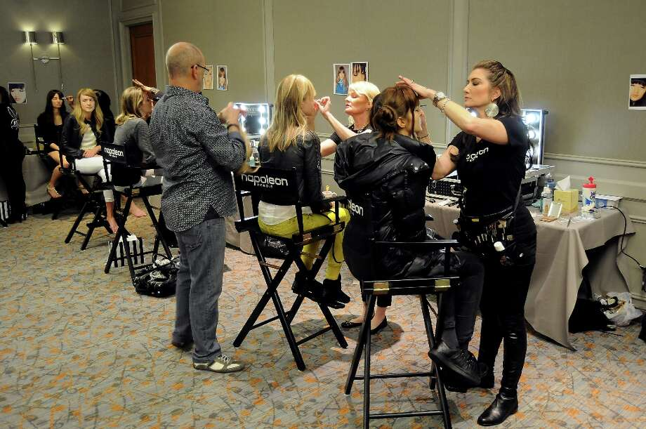 Models have their hair done backstage at the annual Houston Chronicle's Best Dressed Luncheon at the Westin Galleria Hotel Tuesday April 3, 2013.(Dave Rossman photo) Photo: Dave Rossman, For The Houston Chronicle / © 2013 Dave Rossman
