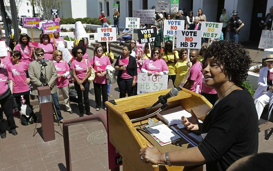 State Sen. Linda Coleman, D-Birmingham, addresses abortion-rights demonstrators rallying at the Alabama Statehouse in Montgomery against the stringent new regulations. Photo: Dave Martin, Associated Press