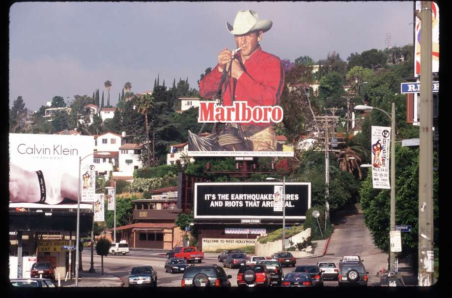 A Marlboro Billboard Is On Display Near A Road April 30, 1997 In Los Angeles, Ca. Photo: Gilles Mingasson, Getty Images / Getty Images North America