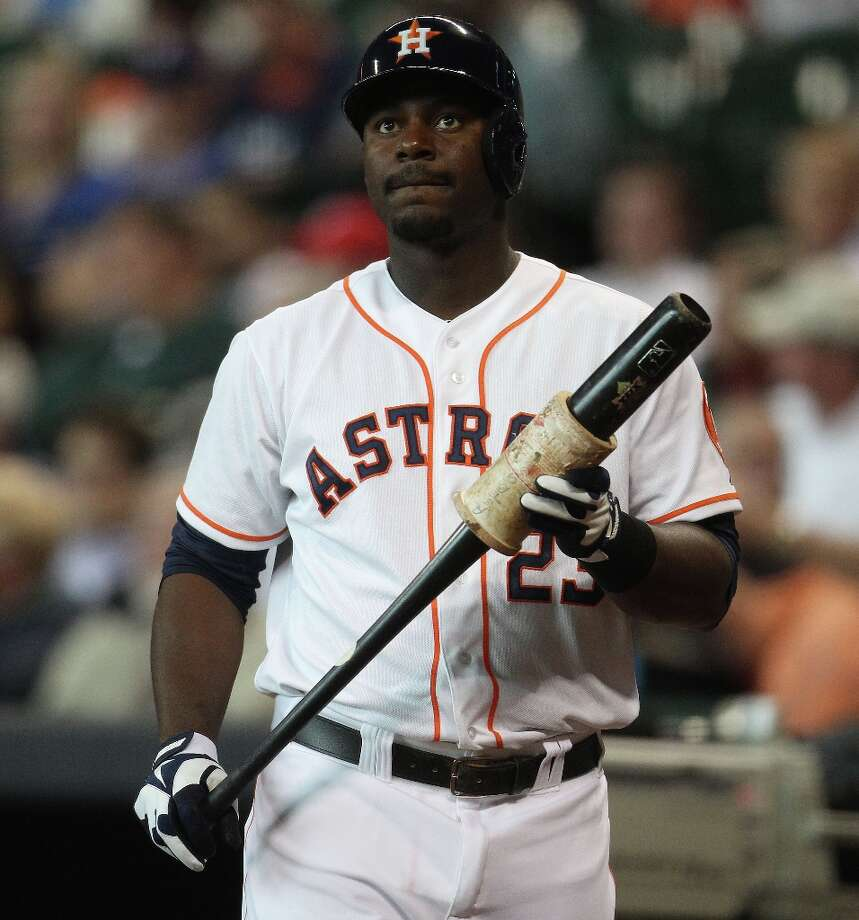 Astros first baseman Chris Carter waits on deck during the third inning. Photo: Karen Warren / © 2013 Houston Chronicle