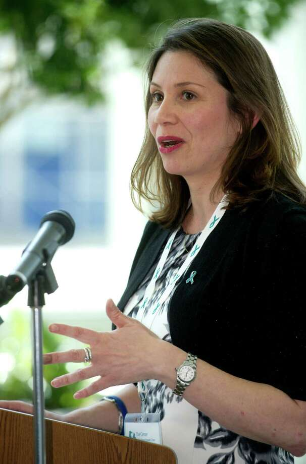 Ivonne Zucco, Executive Director of the Center for Sexual Assault Crisis Counseling and Education, speaks at Government Center during the Center's annual Sexual Assault Awareness Month kick-off press conference on Wednesday, April 3, 2013. Photo: Lindsay Perry / Stamford Advocate