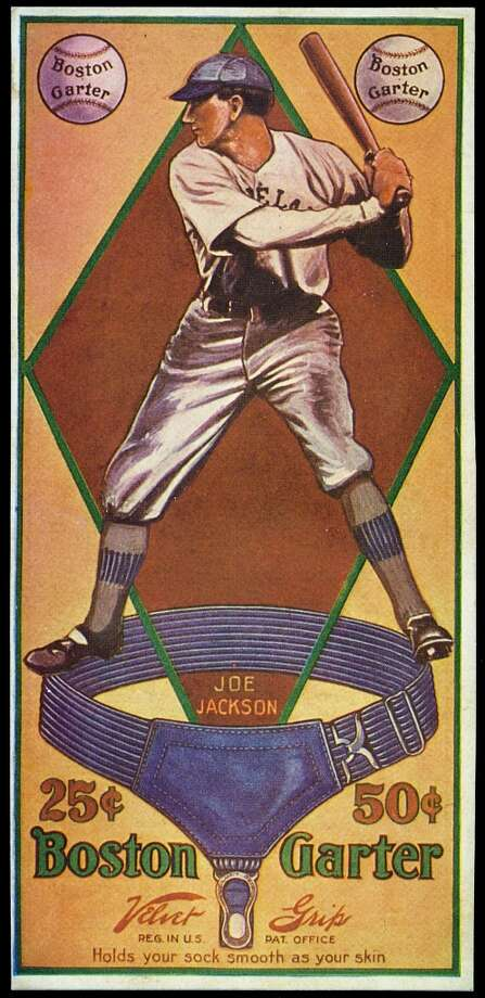 Joe Jackson is the subject of a baseball advertising card produced by the Boston Garter Company in Boston, Massachusetts in 1914. Photo: Transcendental Graphics, Getty Images / Archive Photos