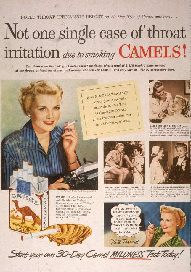 A 1950 print ad for Camel cigarettes presenting the true story of secretary Rita Tennant who passed the 30 day test of Camel mildness under the observation of a noted throat specialist. The ad features the slogan,Not one single case of throat irritation due to smoking Camels! Photo: Blank Archives, Getty Images / 2003 Getty Images