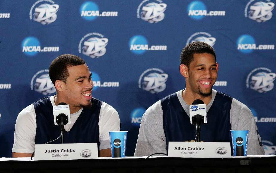 California guard Justin Cobbs, left, and guard Allen Crabbe appear at a news conference on a practice day for a third-round game in the NCAA men's college basketball tournament in San Jose, Calif., Friday, March 22, 2013. California will play Syracuse on Saturday. Photo: Jeff Chiu, Associated Press / AP