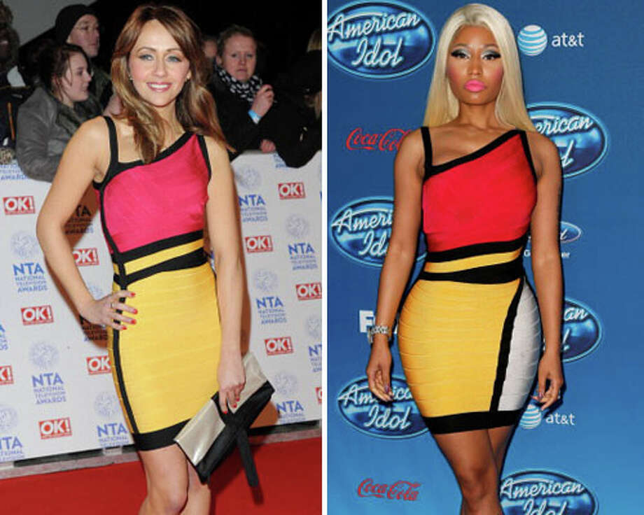 British actress Samia Ghadie and Nicki MinajNobody does a curve-hugging dress with pops of color better than Minaj.