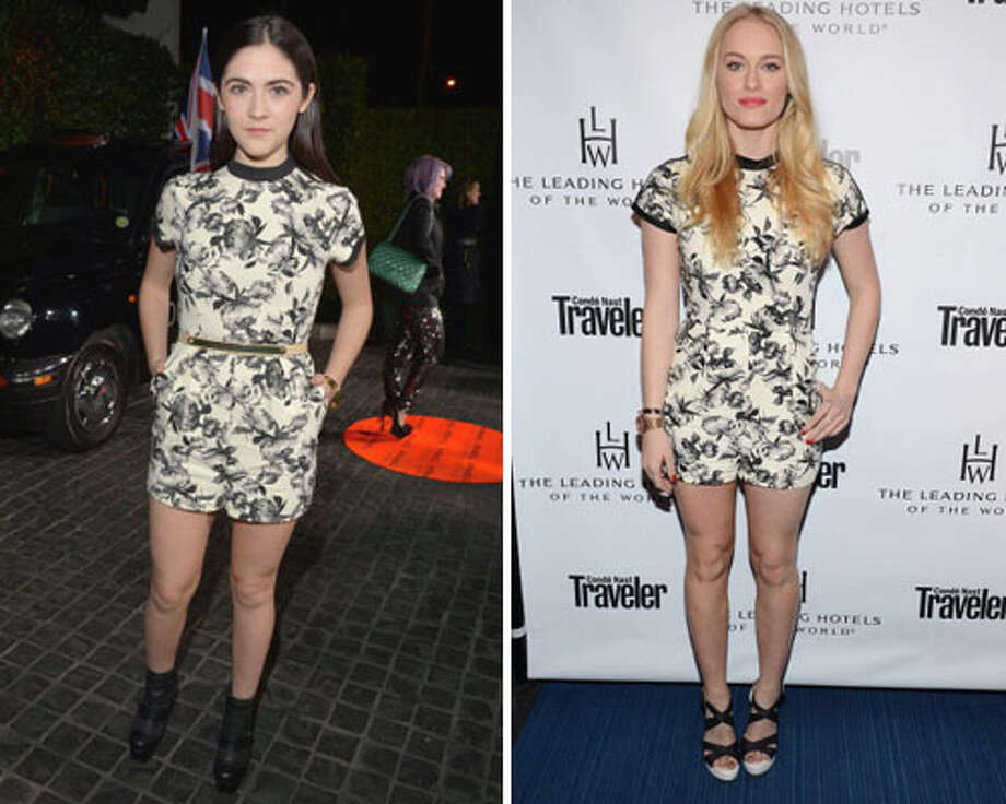 Actress Isabelle Fuhrman and actress Leven RambinThey look like they each took half of the same curtain.