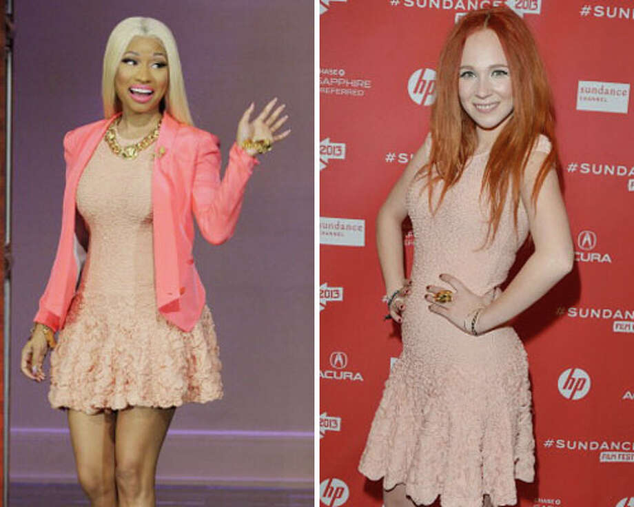 Nicki Minaj and actress Juno TempleMinaj is taller and has better accessories.