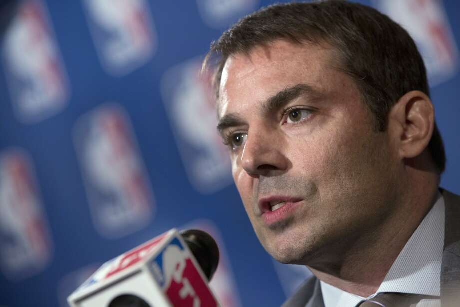 Hedge fund manager Chris Hansen is interviewed after his meeting with the NBA regarding the possible relocation of the Sacramento Kings basketball team to Seattle, in New York, Wednesday, April 3, 2013. Hansen and Microsoft Chief Executive Steve Ballmer have agreed to buy a majority stake in the Kings from the Maloof family for $341 million, but the deal needs league approval.