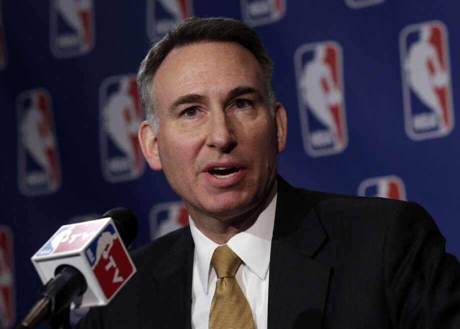 King County Executive Dow Constatine, is interviewed after his meeting with the NBA regarding the possible relocation of the Sacramento Kings basketball team to Seattle, in New York, Wednesday, April 3, 2013. Hedge fund manager Chris Hansen and Microsoft Chief Executive Steve Ballmer have agreed to buy a majority stake in the Kings from the Maloof family for $341 million, but the deal needs league approval.