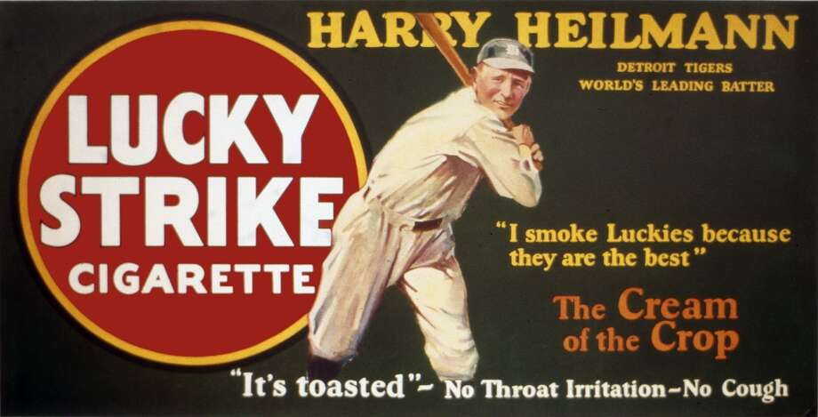 Hall of Famer Harry Heilmann is the baseball star selling Lucky Strike cigarettes on a trolley car sign, circa 1920. Photo: Transcendental Graphics, Getty Images / Archive Photos